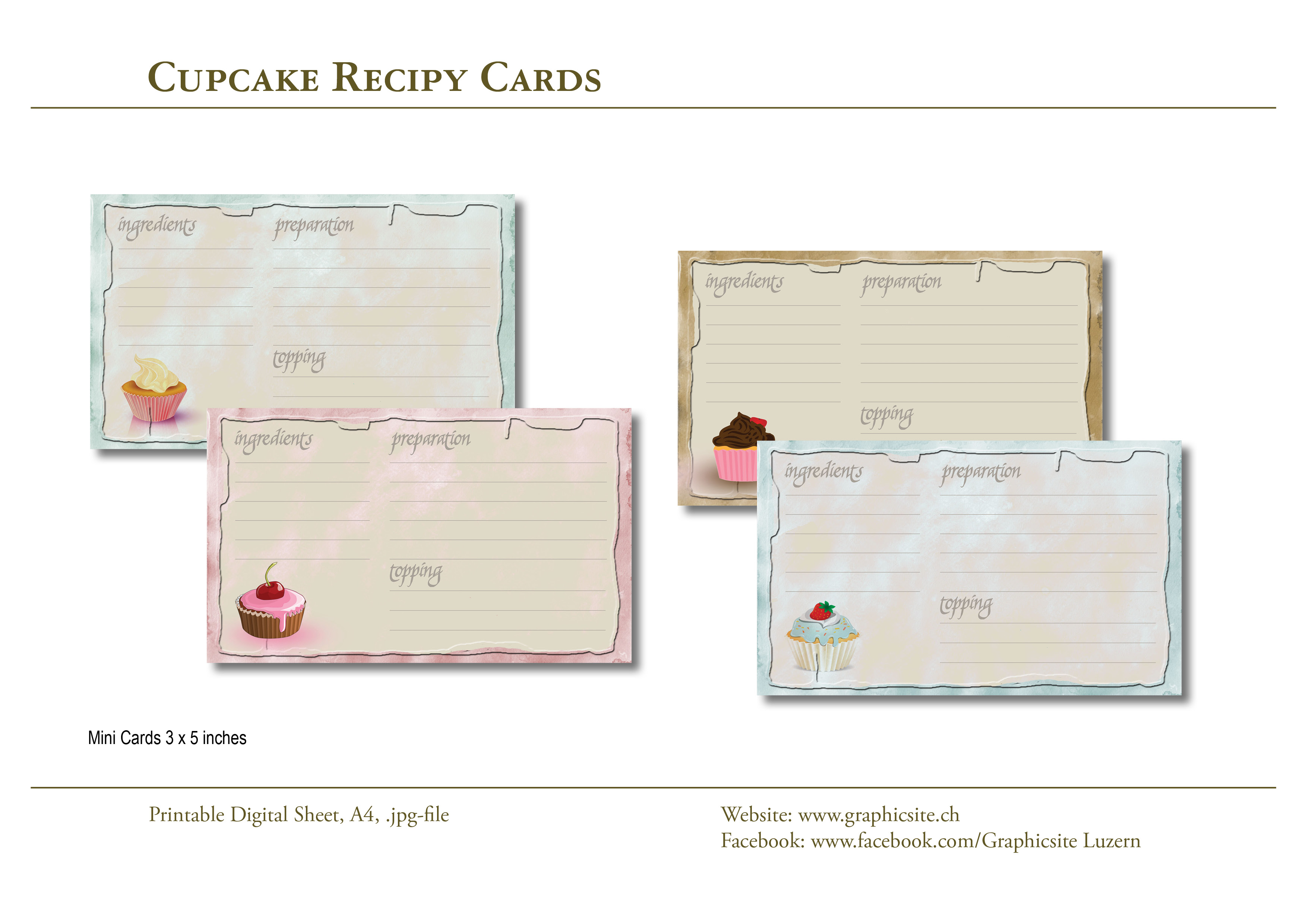 Printable Digital Sheets - 3x5_images - Cupcake Recipes - #cupcakes, #recipe, #cards, #crafts, #papers,