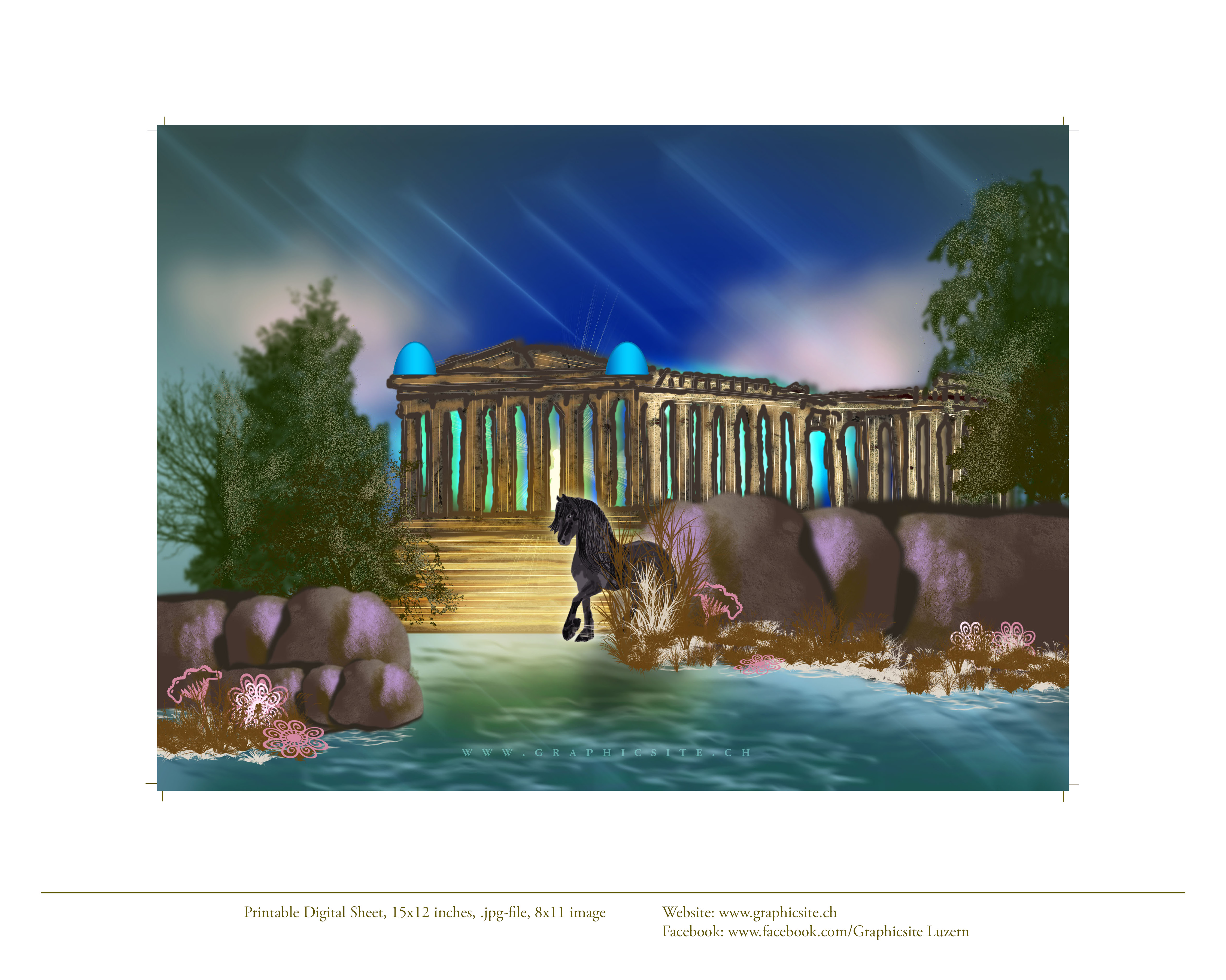 Printable Digital Image - 8 x 11 inches - Akropolis, Greece, Digital, Painting, Graphic Design,