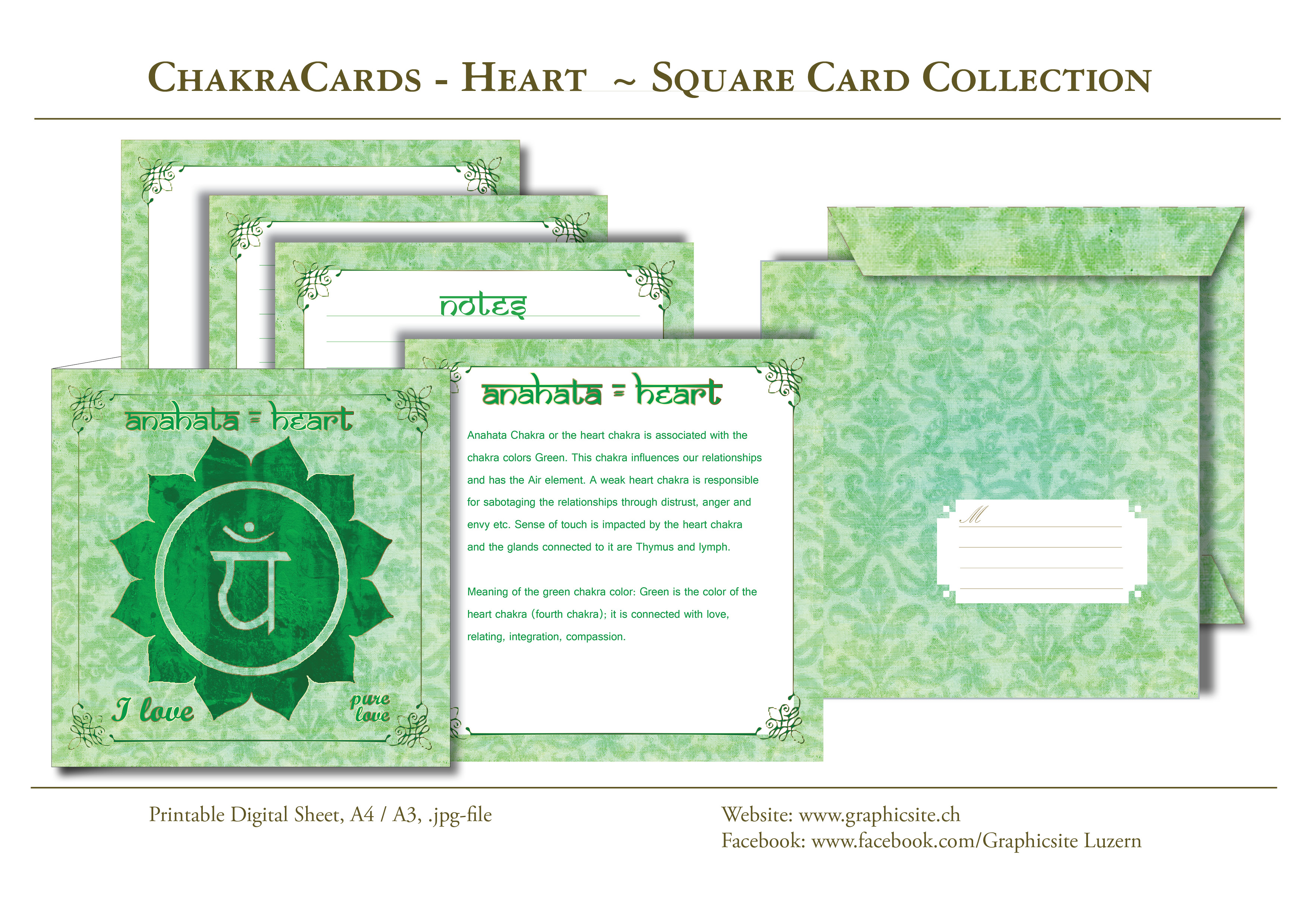 Printable Digital Sheets - Square Card Collections - Chakra Cards, Anahata, Heart,