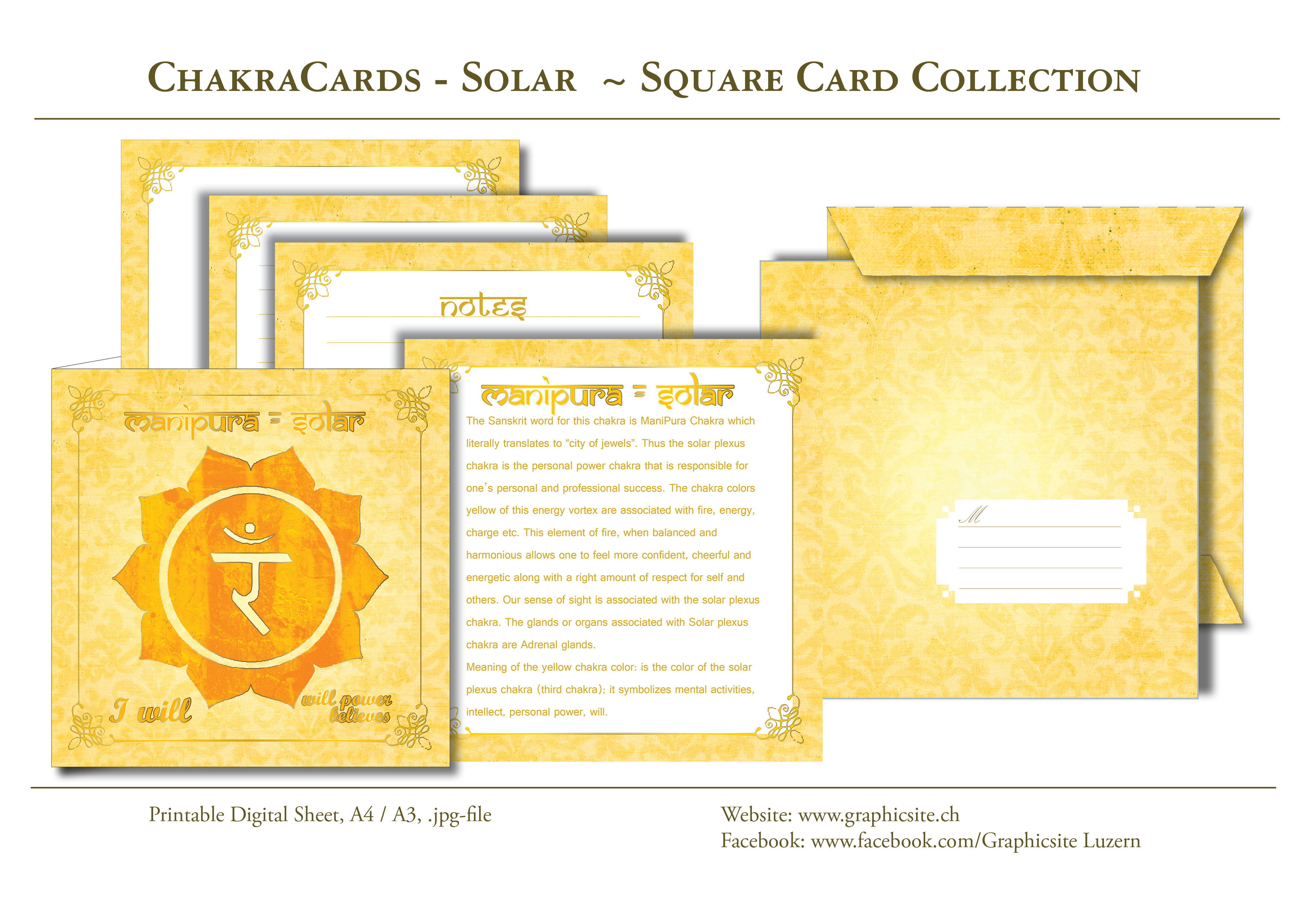 Printable Digital Sheets - Square Card Collections - Chakra Cards, Manipura, Solar,