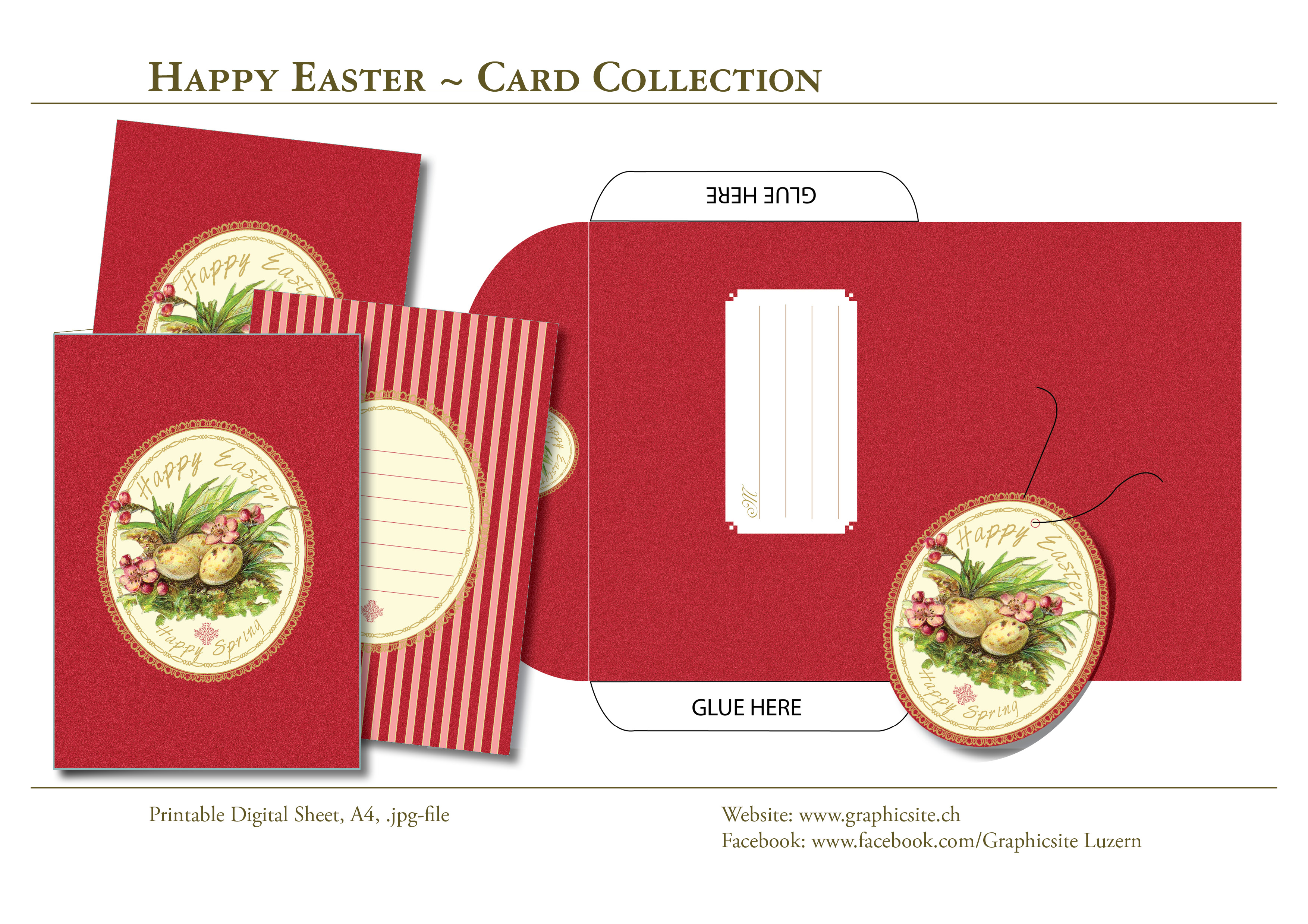Printable Digital Sheets - Card Collection - DIY Printing, Easter2, download, online, shopping, Graphic Design, Luzern,