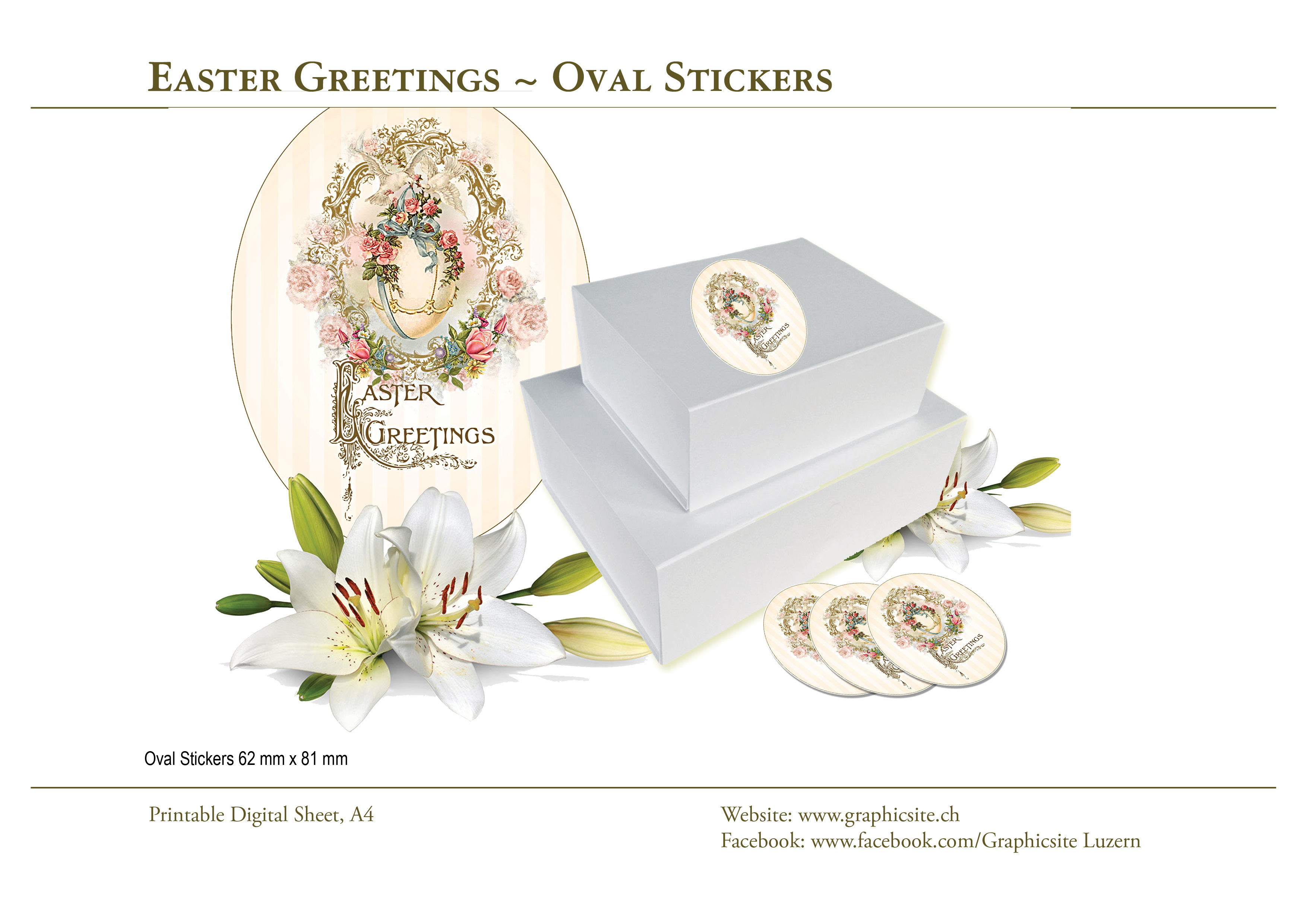 Printable Digital Sheets - Labels - Stickers - Easter Greetings - #easter, #labels, #gifts, #floral, #roses, #victorian, #vintage,
