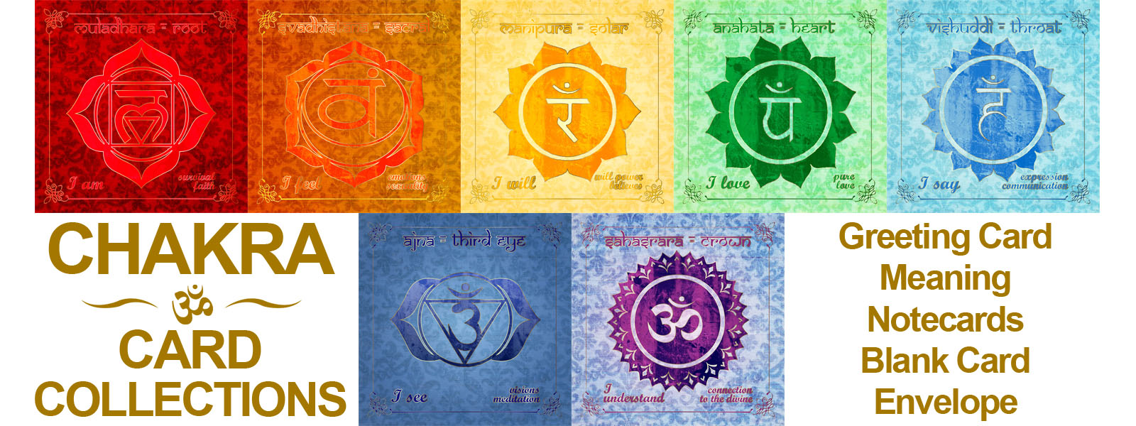 Chakra Card Collections - Greeting Card - Square Cards - Energy Cards - Spirituality,