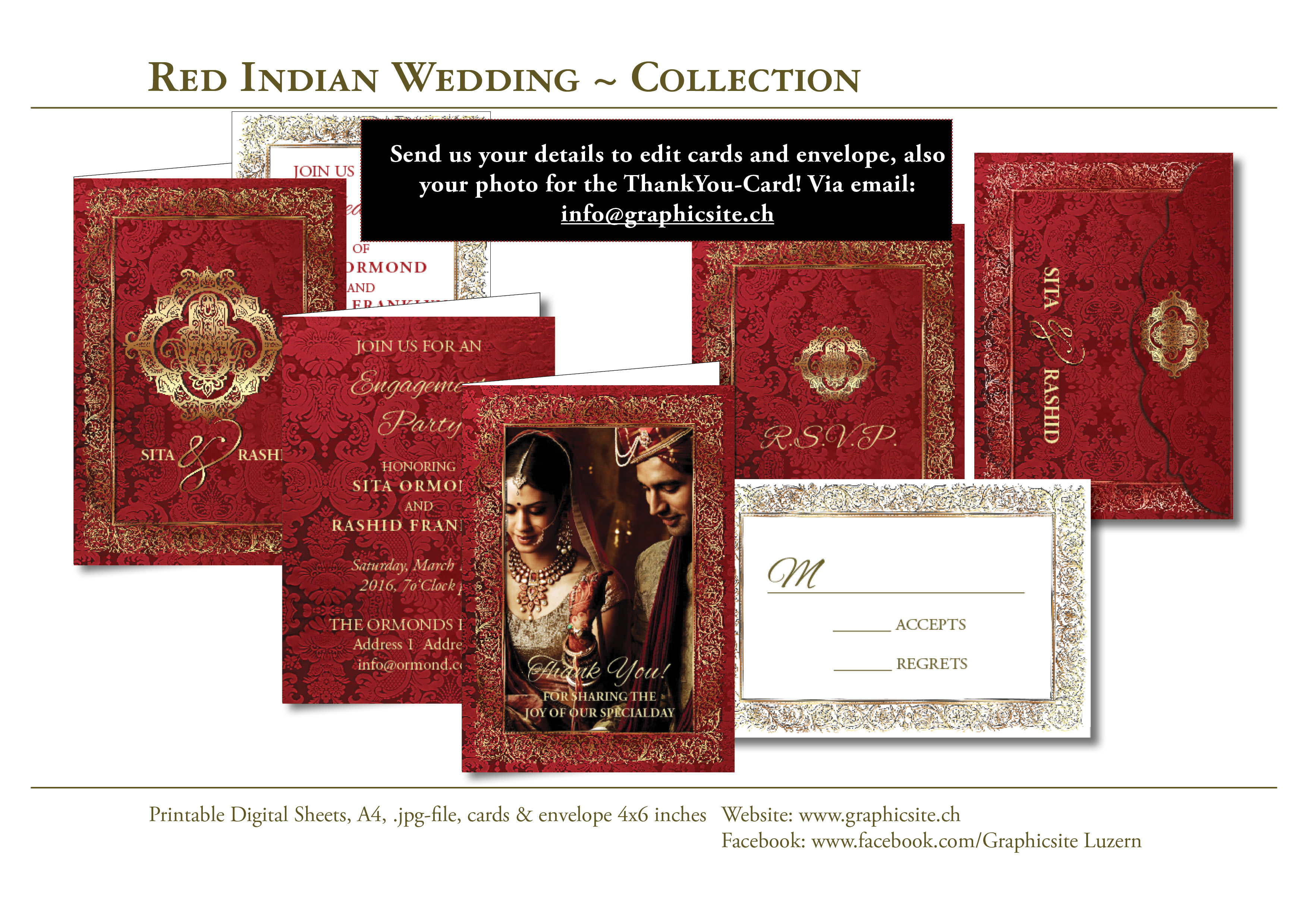 Red Indian Wedding - Invitation Collection - 6x4 inches #hochzeitskarten drucken Schweiz, Luzern